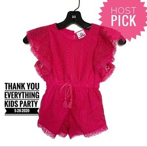 Girls Lace Pink Romper